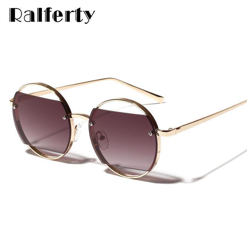 Güneş Gözlüğü Ralferty Benzersiz Kadınlar Şık Deldi Yuvarlak Güneş Gözlükleri UV400 Gri Lens Kadın Serin Gözlük Aksesuarları Shades WA1163