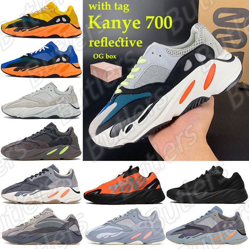 Güneş 700 Kanye Erkek Kadın Yansıtıcı Koşu Ayakkabıları OG Katı Gri Parlak Mavi Leylak Hastane Mavi Eğitmenler Vanta Tephra Turuncu Grafiti Sneaker