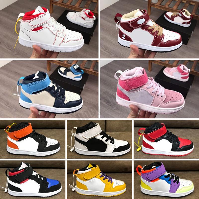 Scarpe da bambini caldi Dimensioni 22-35 Bambini ad alto bambino Bambino nuovo designer leggero colore arancione per bambini scarpe da basket
