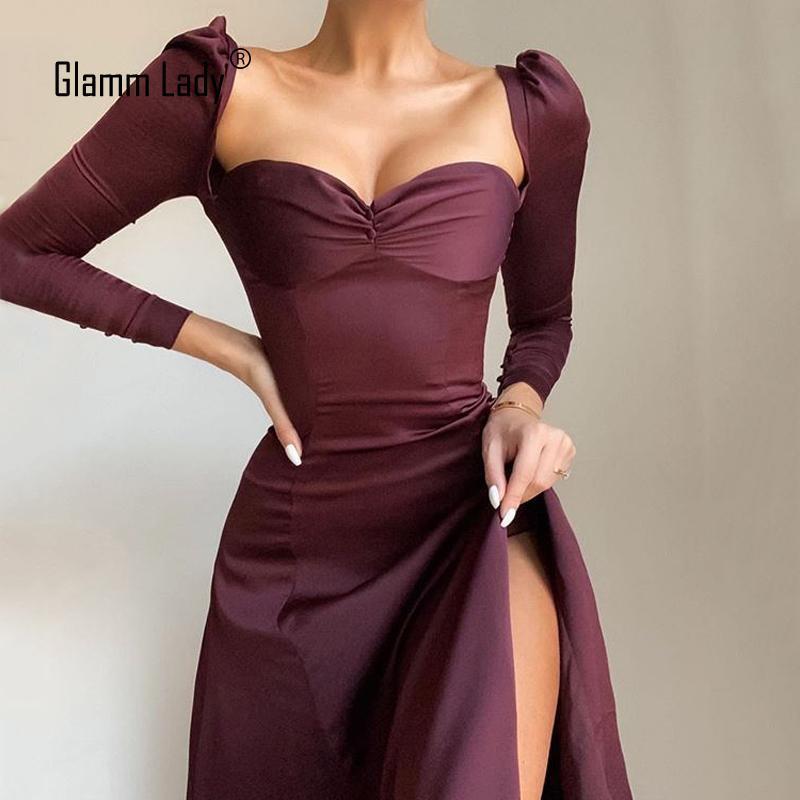 Glami Bayan Yeni Bahar Sonbahar Parti Rahat Seksi Elbise Bayan Straplez Bodycon Midi Elbise Katı Düğme Kulübü Uzun Kollu