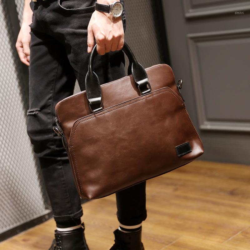 Men's Shoulder Bag Korean Style Casual Mobile Messenger Bag Trend Computer Pu Crazy Horse Leather Diagonal1