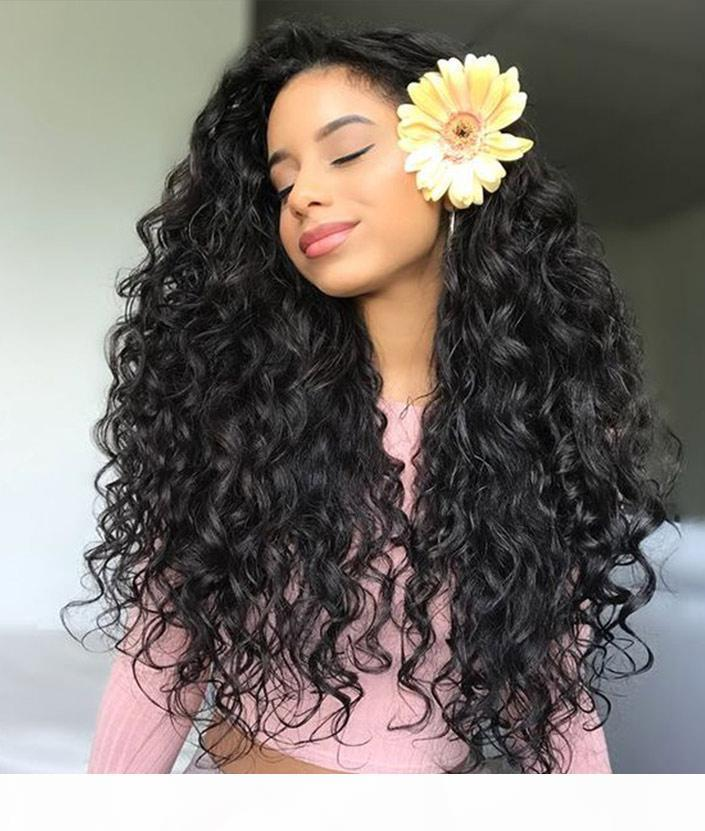 Fashion cheap unprocessed remy virgin human hair long natural color deep wave full lace cap wig for women