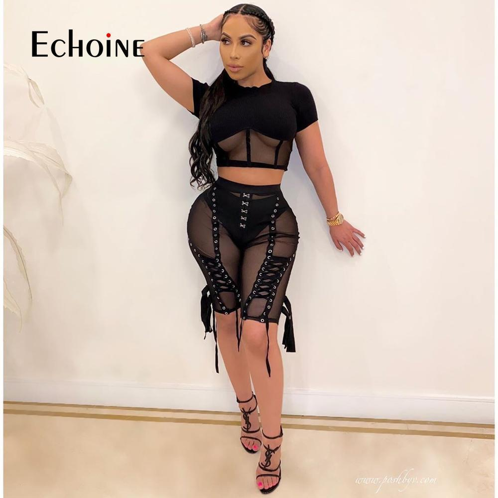 Ecoine Donne Bandage High Waist Sexy Sexy Seeve Through Mesh Lace Up Tassel Active Party Bottoms Skinny Workout Shorts