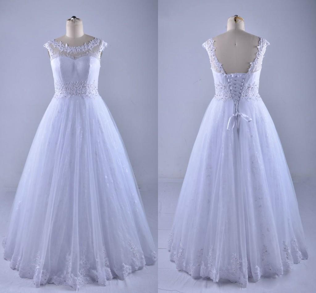 2021 простые кружева свадебные платья плюс размер шапки с коротким рукавом прозрачные шеи аппликация бисером блестки свадебное платье для пляжной свадьбы в качестве гостя