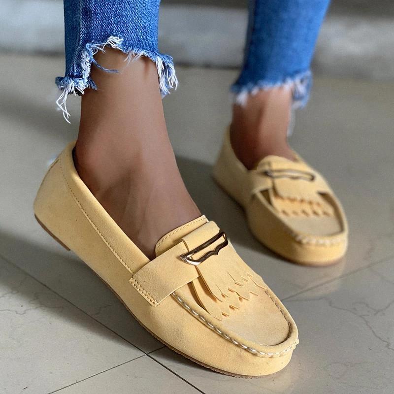 Sonbahar Kadın Loafer'lar kadın Püskül Flats Kadın Akın Rahat Bayanlar Dikiş Ayakkabı Üzerinde Kayma Kadın Ayakkabı Artı Boyutu 43 # GL0B