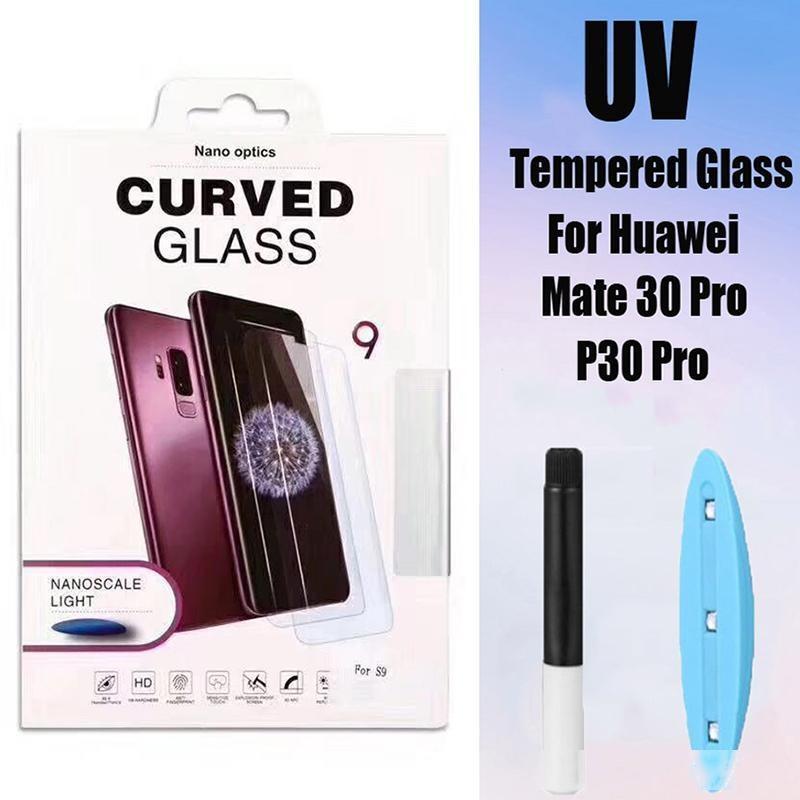 Verre trempé Nano liquide pour Huawei P30 P40 PRO Plus Mate 20 30 Honor30 Pro 5D UV Colle Curved Film Couvercle Plein-Fall Protecteur d'écran anti-chute