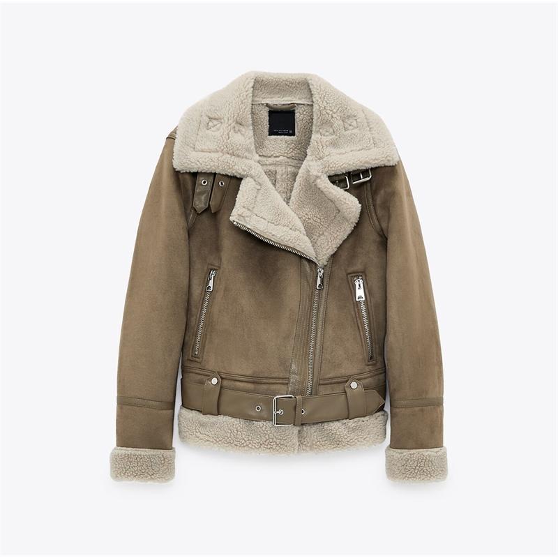 Новая женская одежда густая теплая зимняя зимняя ретро замша шерсть шерсть мотоцикл ремень досуг свободные искусственные кожаные куртки 201106