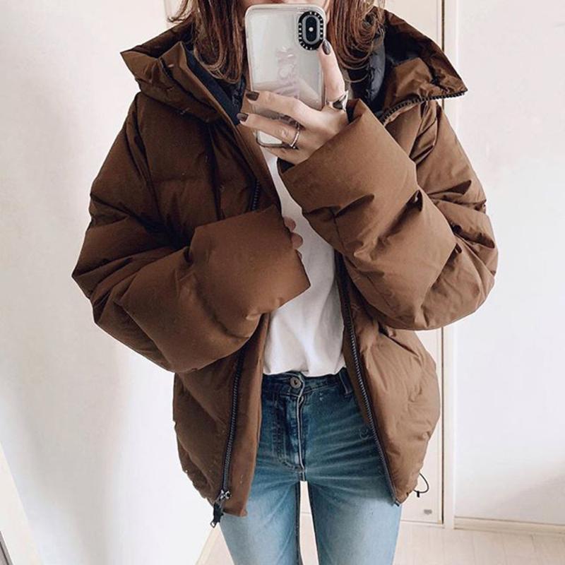 코튼 패딩 자켓 탑스 따뜻한 겨울 일반 여성 파카 오버 코트 두꺼운 코트 여성 캐주얼 지퍼 브라운 Outwear 2021 코트