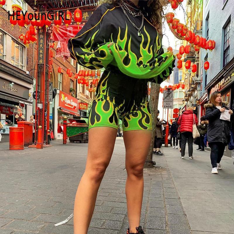 Heyoungirl Alev Baskı Biker Şort Ve Üst Fitness Harajuku Günlük Kıyafetler Bayanlar Sonbahar Eşofman Kadın Moda Streetwear