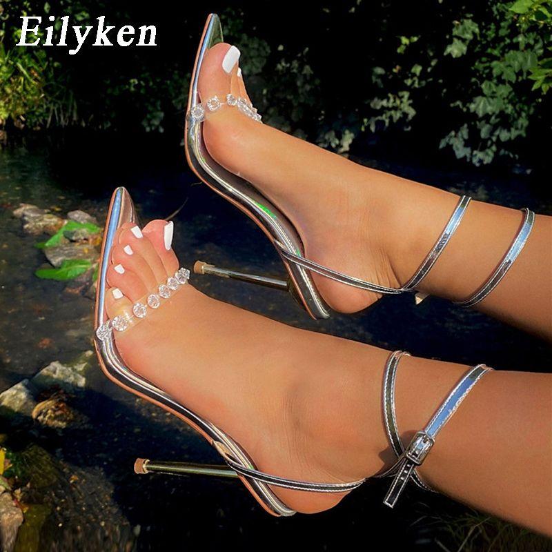 Eilyken جديد كريستال مثير النساء الصنادل المعدنية عالية الكعب الكاحل مشبك حزام المصارع السيدات مضخات الخنجر ملهى ليلي حزب أحذية J1208