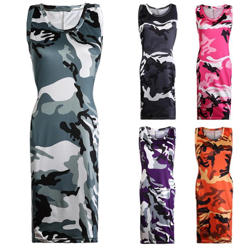 2020 New Summer Fashion Women Sexy Tank Dress Slim Casual Camouflage O-Neck Print Splice Empire Mini Dresses Vestidos