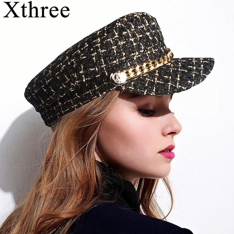 Xthree otoño sombrero de invierno cadena de lana sombrero militar sombrero de moda para mujeres femenino femenino ejército gorra salior sombrero niña visor viaje boinas y200103
