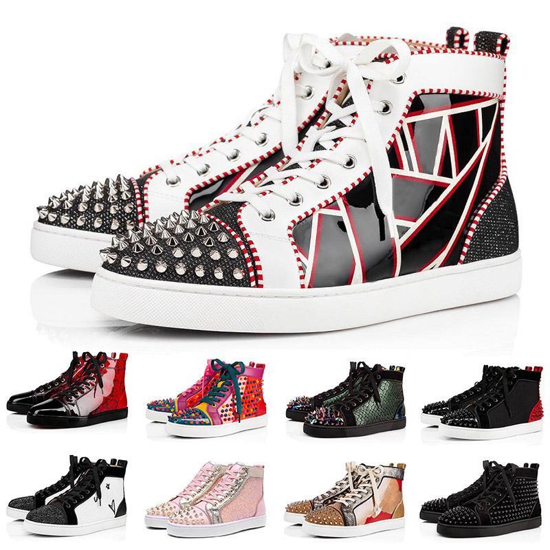christian louboutin red bottoms Junior Spikes Loafers mens femmes des chaussures de créateurs plate-forme baskets marque de luxe bas fond rouge chaussures de sport taille us 13