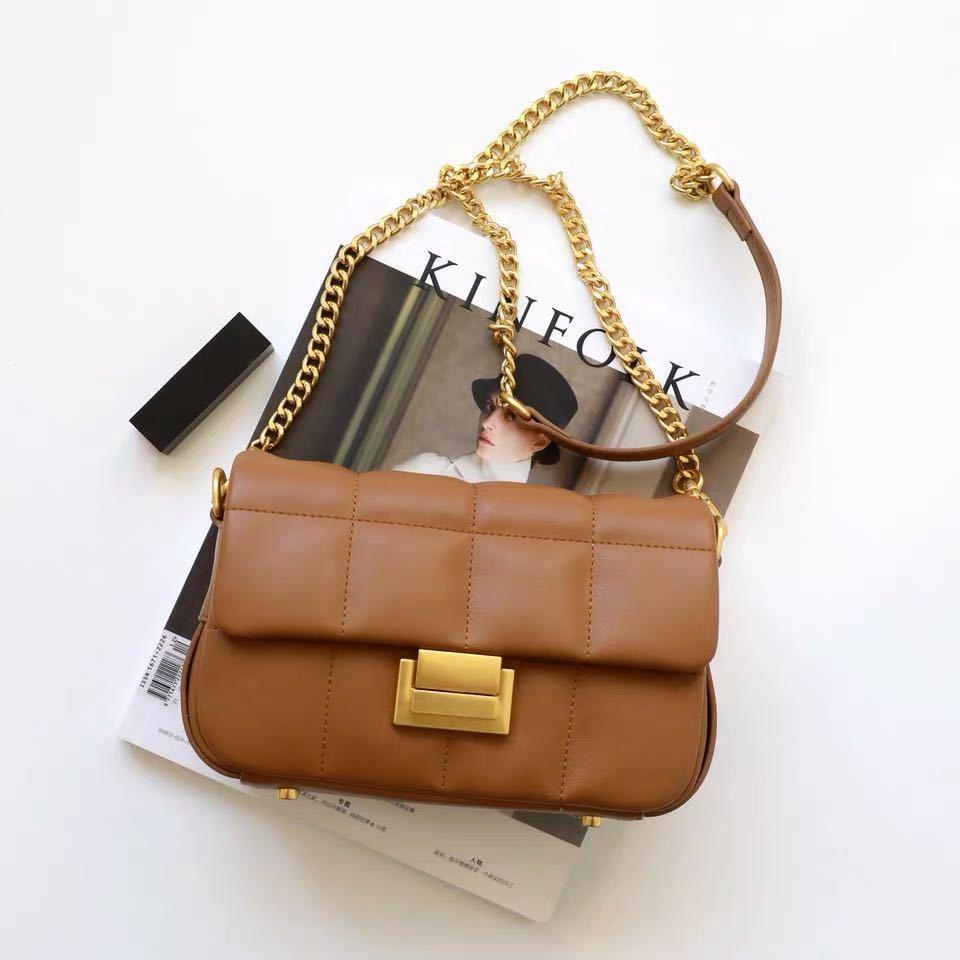Donna reale cinghia della catena dell'oro della cinghia della catena della catena di qualità piccola borsa quadrata di qualità con le borse a tracolla di modo delle ragazze della serratura