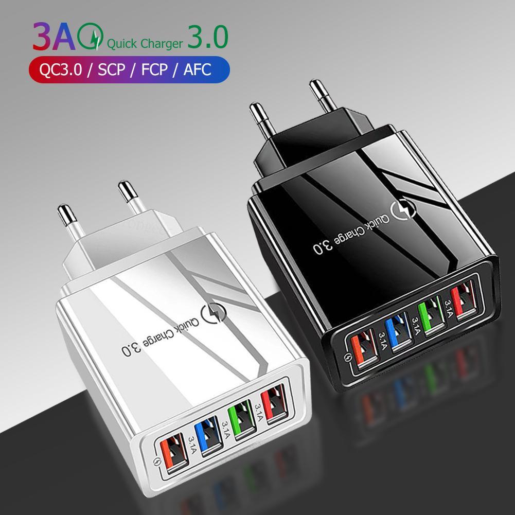 QC 3.0 빠른 충전기 4 USB 포트 충전기 벽 아이폰 XR XS 11 Pro 삼성 Huawei 태블릿 휴대 전화 USB 충전기