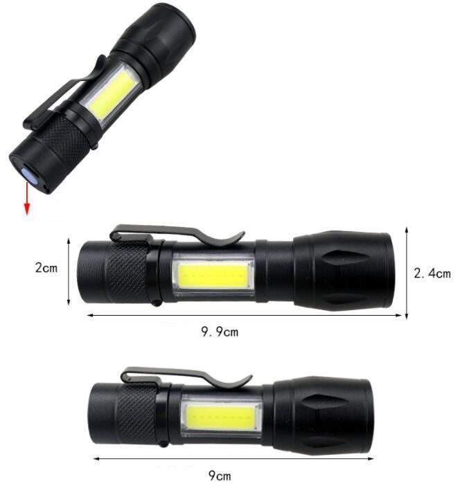 Poderoso recarregável dentro da lâmpada da bateria luzes impermeável lâmpada de luz de flash 2000lm usb lanterna cob + cree q5 camping caminhadas caça tocha