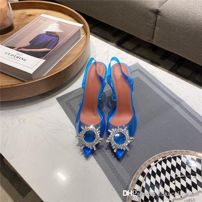 2020 Hot Style Cenicienta Cenicienta Slipper Transparente Tacón alto Sandalias de cuero Tacones de suela de cuero con una altura de 9,5 cm con caja Es.35-42