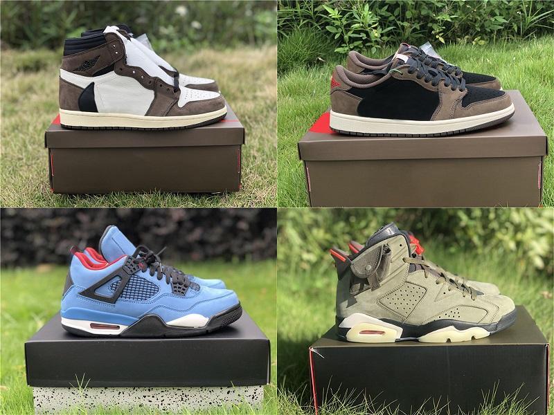 سخونة أصيلة travis scott 6 الصبار جاك متوسطة الزيتون 1 ثانية توهج في الظلام الجيش الأخضر الجلد المدبوغ 3M أحذية الرجال في الهواء الطلق zapatos أحذية رياضية