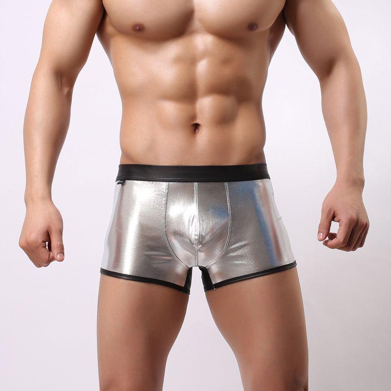 Patchwork Boxers Masculino Underwear Boxer Shorts Homens Moda Imitação de Tecido de Couro BoxersHorts Homens Underpants