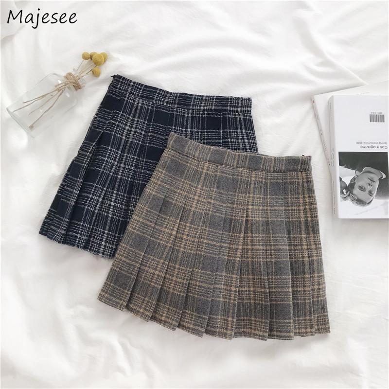 Falten Röcke Frauen Frühling Herbst Neue Hohe Taille Mini Koreanischer Stil Präfpy Stil Japanische Mädchen Trendy Ulzzang All-Match Casual