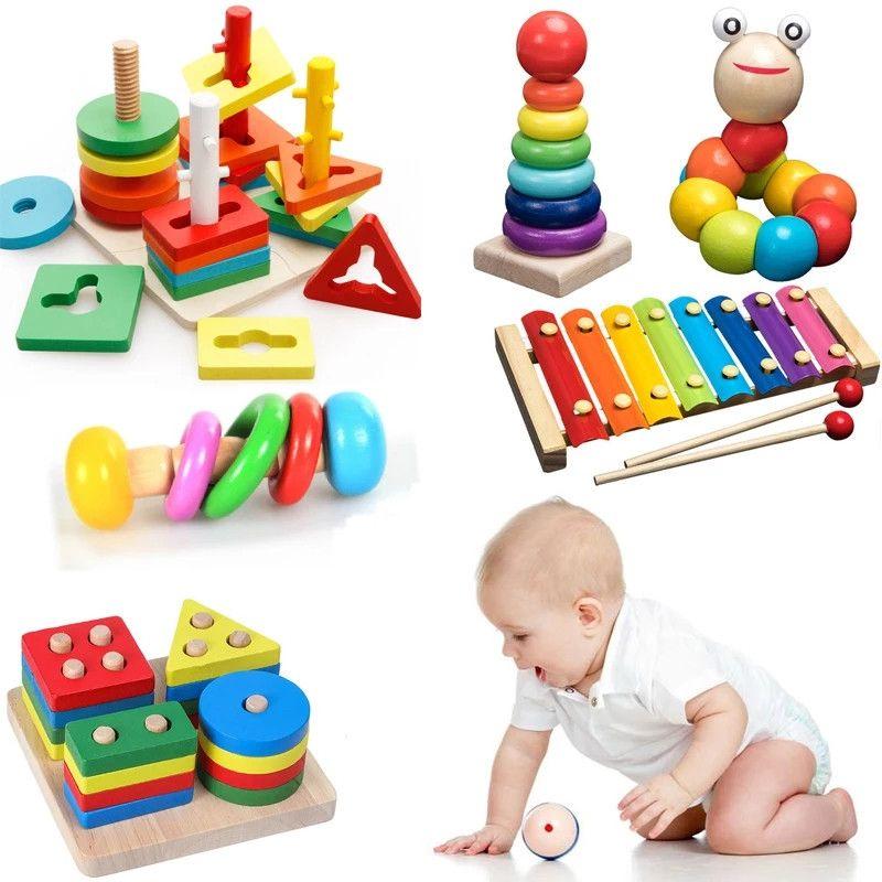 Çocuklar Montessori Ahşap Oyuncaklar Gökkuşağı Blokları Çocuk Öğrenme Bebek Müzik Çıngıraklar Grafik Renkli Eğitici Oyuncak