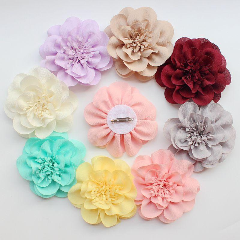 10Pcs/lot 10cm Fashion chiffon Hair Accessories DIY Accessory Boutique Wedding decoration flower with pin on back hair bow