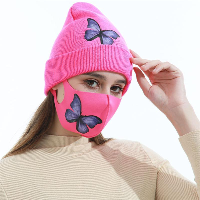 7 Colors Women Knitted Hat Letters Butterfly Diamond Designers Adults Winter Warm Hat Ice Silk Face Mask Outdoor Ski Cap Masks Set E112103