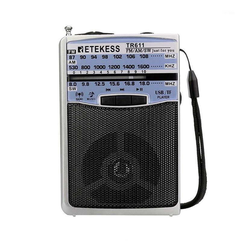 Retakess tr611 portátil FM am 3 banana rádio com fone de ouvido USB TF player suporte MP3 Format1