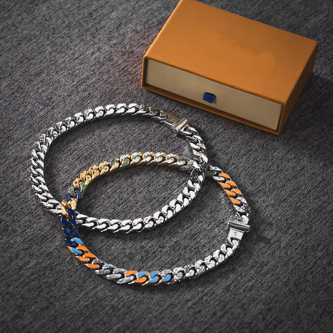Mode Neue Kommen Männer Dame 316L Titanium Stahlgravier Vier Blatt Blume Farbige Emaille 18k Überzogene Gold Dicke Kette Verbindungen Halsketten 2 Farbe
