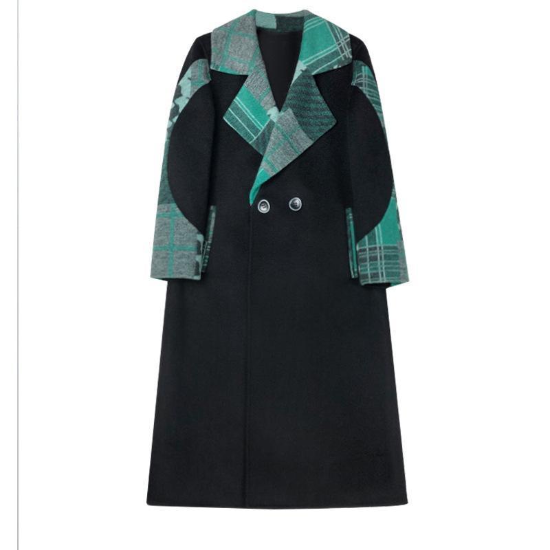 Miscele di lana da donna 2021 Cappotto di lana di alta qualità Blended Giacca femminile Mid-Long Autunno Inverno Plaid Donne Casual Outwear 5x