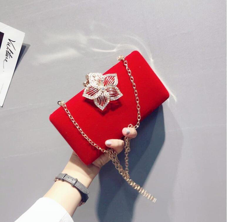 Red Black Veret Rhinestones вечерняя сумка свадебный кошелек пальцев кольцо бриллиантов цепь плечевые сумочки хрустальная вечерняя сумка 2020
