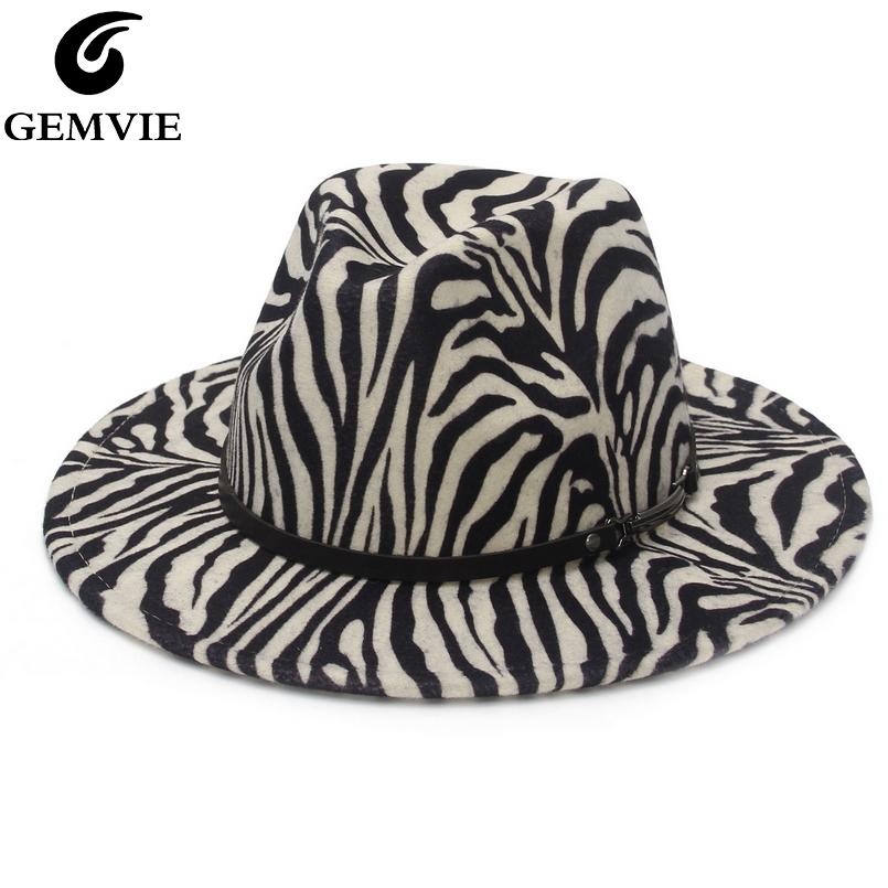 GEMVIE 2021 New Fashion Zebra Fedora Hat For Women Wide Brim Wool Felt Hat For Men Panama Style Jazz Cap Gamble C0123
