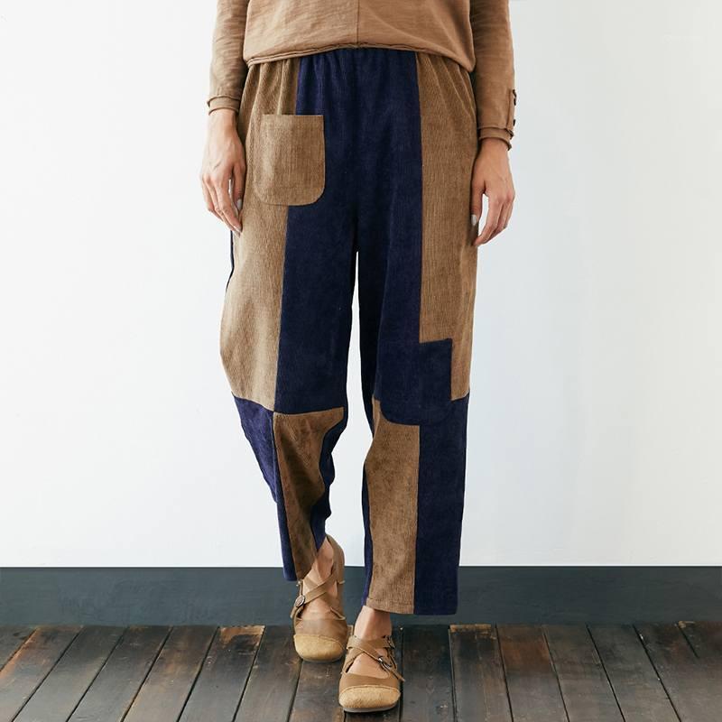 2020 повседневные карманы длинные брюки винтажные дна Palazzo Corduroy лоскутное брюки женские гарем брюки эластичные талии уличные 71