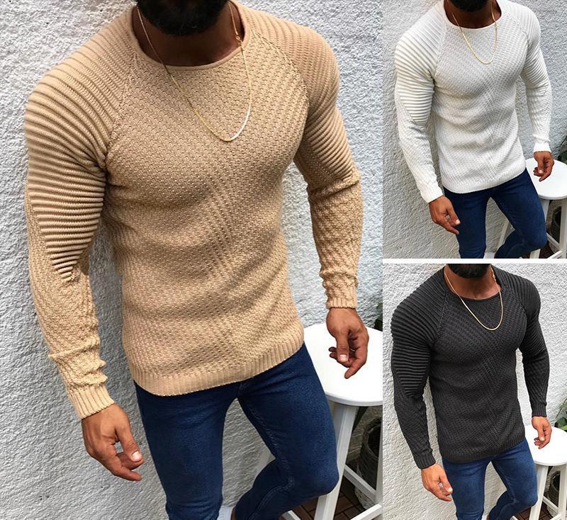 Sexy Slim Fit O-Collo Maglione Maschile nuovi uomini di 2020 High Street a pieghe maglioni pullover solido di colore a maniche lunghe lavorato a maglia Pullover