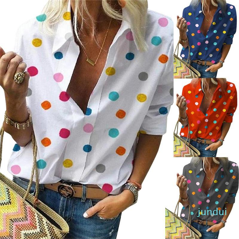 Sıcak Satış Yeni Polka Dot Bluz Kadınlar Down Yaka Uzun Kollu Gömlek Artı Boyutu Giysi Streetwear Beyaz Bluz Kadınlar XXL