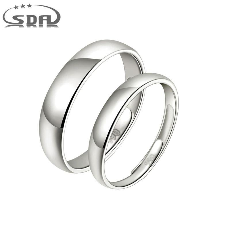 New Simple Wedding Bands 990 Sterling Silver Adjustable Lover Couple Rings for Women and Men SRR1905