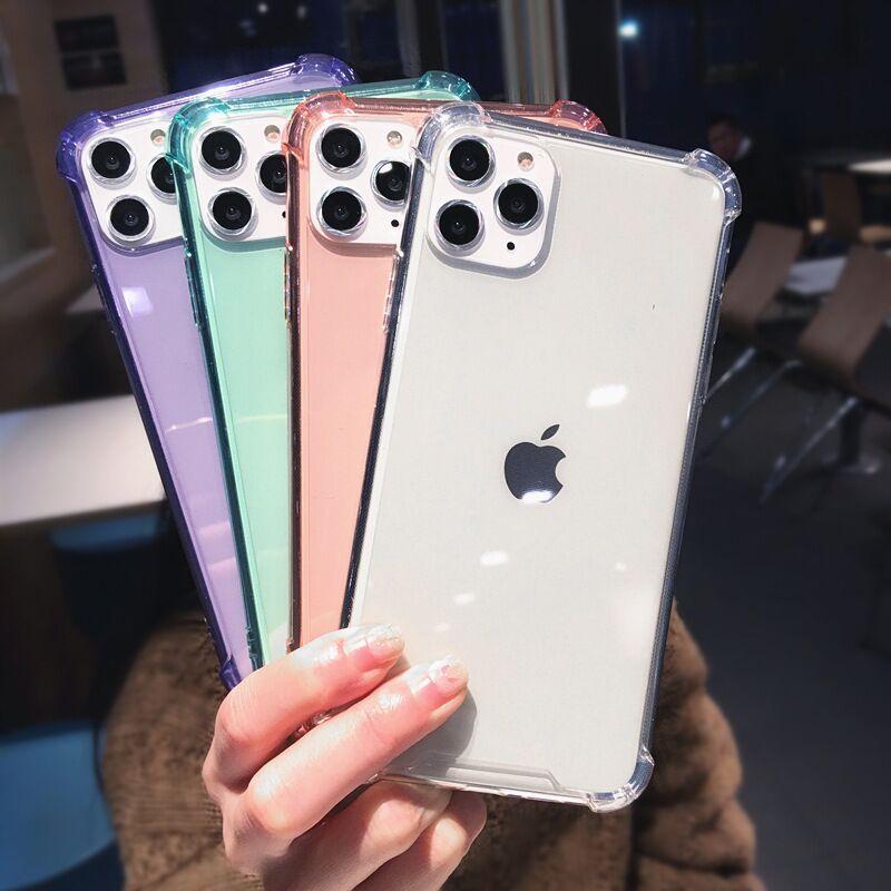 Şeffaf Durumlarda iPhone 11 12 Pro Max XR XS Darbeye Tampon Şeffaf Yumuşak Silikon TPU Jel Telefon Arka Kapak