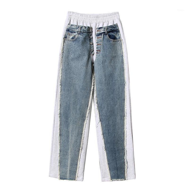Bahar 2021 Kadınlar Geniş Bacak Kot Patchwork Yeni Kalabalık Tasarım Örme Kot Pantolon kadınların Casual Moda Düz Pantolon1