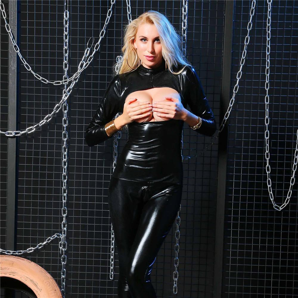 Light Hollow Out Bra High Collar Post Zipper Open Crotch Bodysuit Black five Lingerie Porno Bodystocking Latex Catsuit Leather