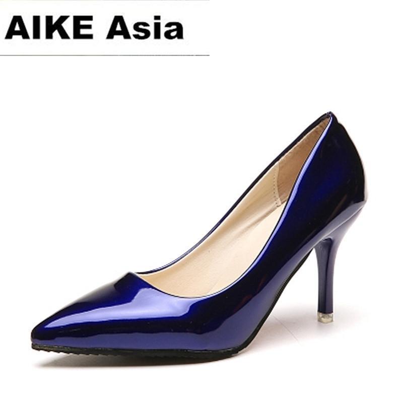 Sıcak Kadın Ayakkabı Sivri Burun Pompaları Pompaları Patent Deri Elbise Yüksek Topuklu Tekne Ayakkabı Düğün Ayakkabı Zapatos Mujer Mavi Seksi Y200326