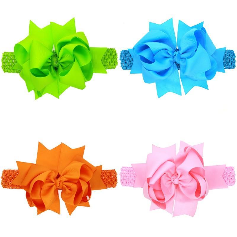 Bebê Meninas Super Big 20cm arcos Headbands Crianças Crianças Grosgrain Fita Bifura Cauda Bow Bow Hairbands Elastic Wide Band Acessórios 583 K2