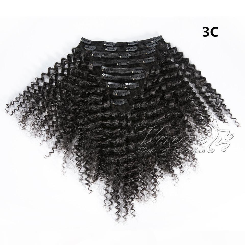 100 % 인간의 머리카락 22 클립 120g 3A 3B 3C 4A 4B 4C 아프리카 변태 곱슬 클립 헤어 확장