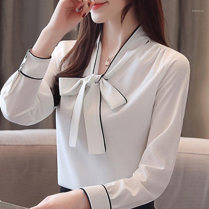 Blusas Mujer de Moda 2020 Blusa Donne Bow Bow Collo V Ufficio Chiffon Camicetta Camicetta a maniche lunghe Bianco Donne Camicette A1951