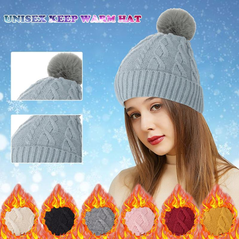 Beanie/Skull Caps Fashion Unisex Beanie Hat Knitted Czapka Zimowa Winter Keep Warm Hairball Hats Solid Color Skullcap For Adults
