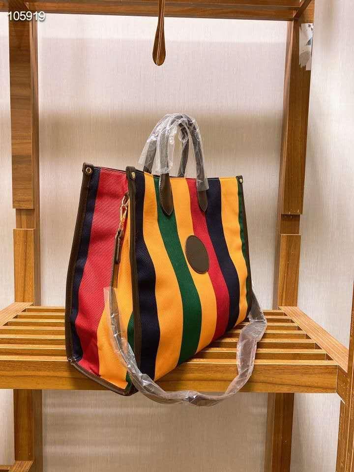 listrado bolsa de ombro 2021 da listra do arco-íris grande balde bag Carrinho das mulheres o padrão última moda combinado com a impressão clássico