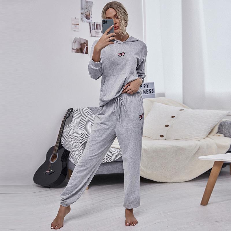2020 новая повседневная мода с капюшоном свободных видов спорта носить свитер жилет и спортивные штаны из двух частей костюм для женской зимы