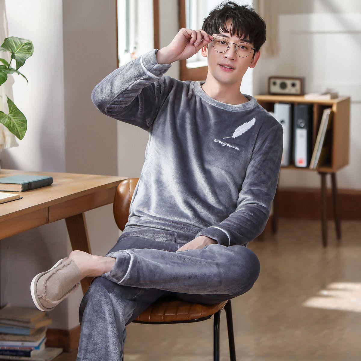 Pigiama manica lunga inverno per uomo Addensare Flanella Sleepwear Suit 2 Pz Pajama Homme Calda Casual Home Abbigliamento Pijama Hombre