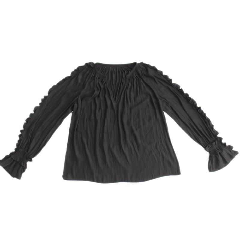 Frauen Top Langarm Fashion Office Damen Kleidung Schwarz Damen Top
