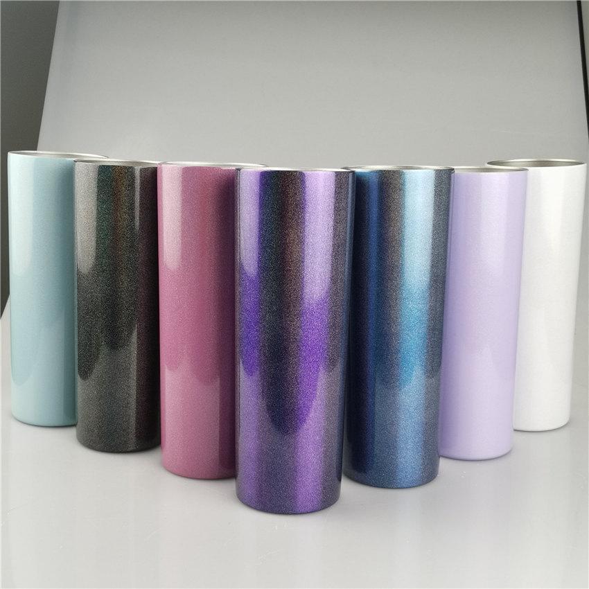 20oz sublimação glitter tumblers cor arco-íris cor de aço inoxidável garrafa de água dupla parede caneca com isolamento de tampa copo bebendo A02