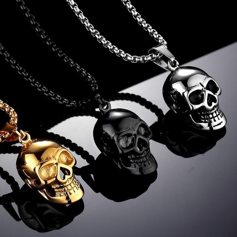 Personnalité Metal Crâne Collier Pendentif Mâle Partie de moto Steampunk Collier de crâne gothique Collier en acier inoxydable Hommes bijoux